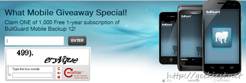 Free 1-year subscription of BullGuard Mobile Backup 12
