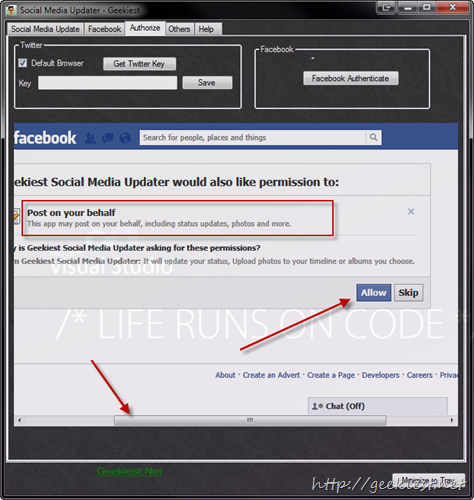 Geekiest Social Media Updater Facebook Authenticate