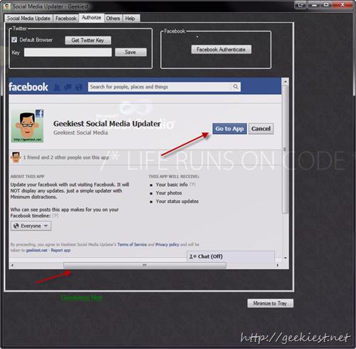 Go to Geekiest Social Media Updater Facebook App