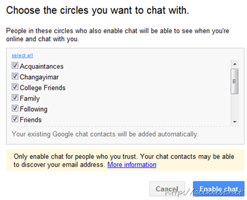google plus chat with circles