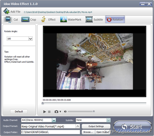 idoo Video Editor Pro rotate videos