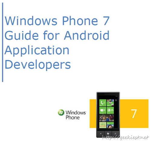 Free eBook - Windows Phone 7 Guide for Android Application Developers