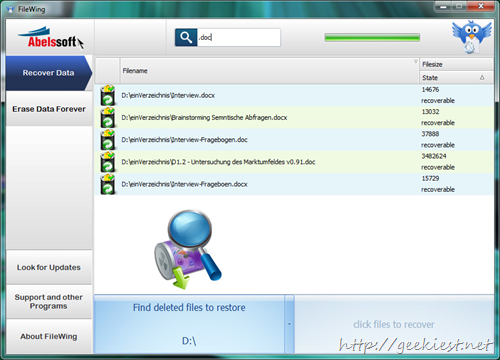 AbelsSoft FileWing PRO unlimited Licenses - Recover your deleted data or permanently delete your data