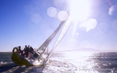 A sailboat sailing