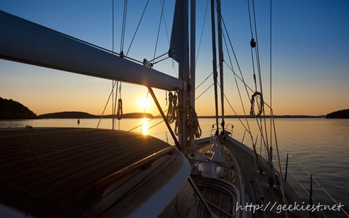 62 foot sailboat at sunrise, Bar Harbor, Maine, USA