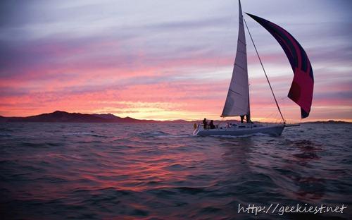 Sailboat in the San Francisco Bay at dusk, California, USA