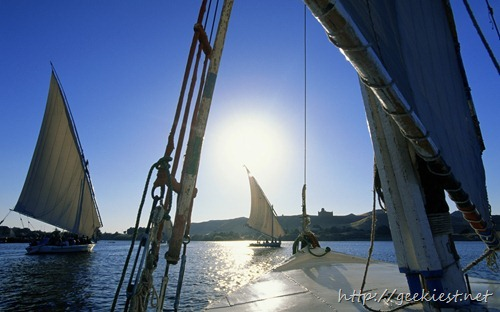 Feluccas sailing on River Nile, Aswan, Egypt