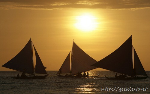Sailboats off the shore of the Philippine resort island of Boracay