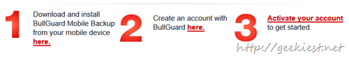 1-year subscription of BullGuard Mobile Backup 12