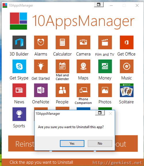 10AppsManager–Uninstall built-in Windows 10 Apps