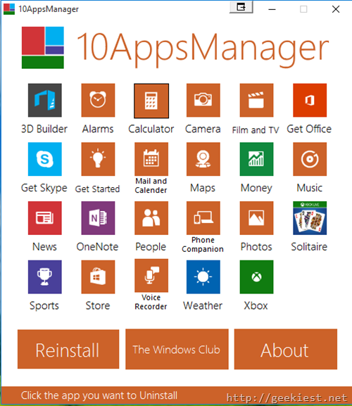10AppsManager–Uninstall or Reinstall built-in Windows 10 Apps