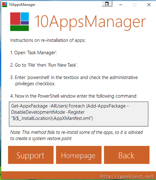 10AppsManager– Reinstall built-in Windows 10 Apps