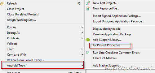 Solution - Invalid Project Description error when importing Android Projects to Eclipse
