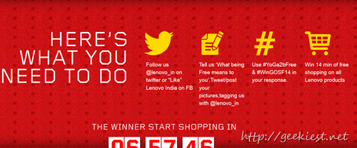 14 minutes of free shopping on lenovo
