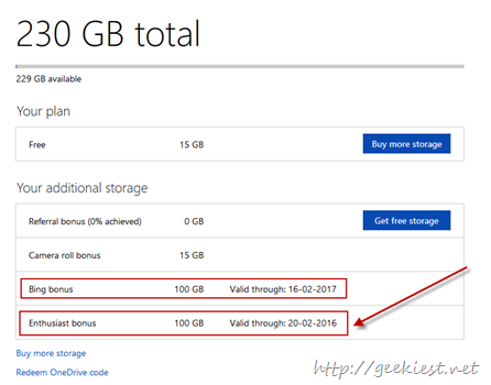 215 GB OneDrive storage space for free