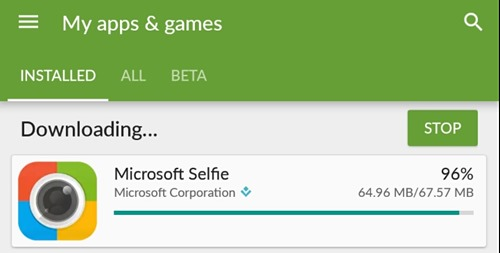 microsoft Selfie for Android Download Size