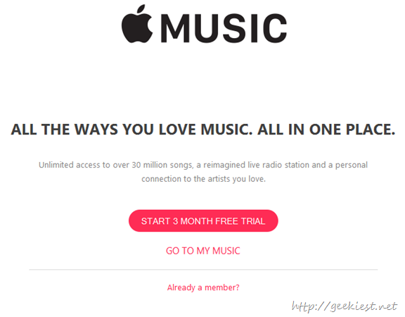 3 Months trial of apple music
