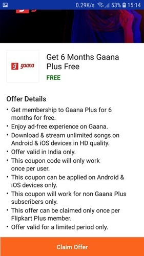 6months Gaana plus subscription Free