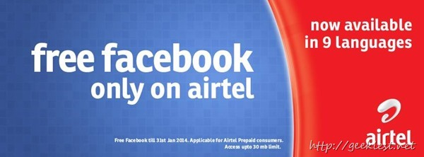Airtel offers Free Facebook access
