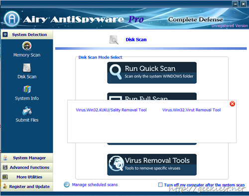 Airy Antispyware Disk Scan