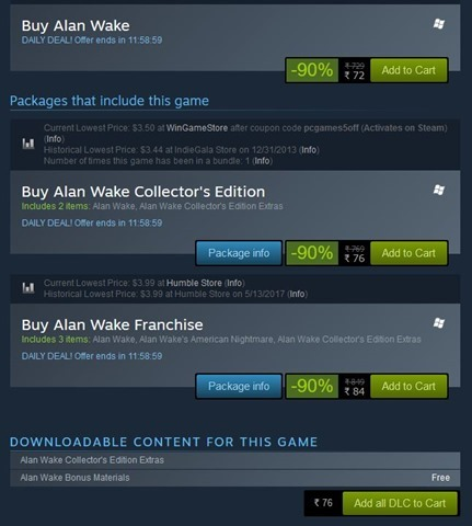 Alan Wake final sale 90 percent off