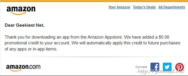 Amazon Appstore to Give USD 5 Credit for all