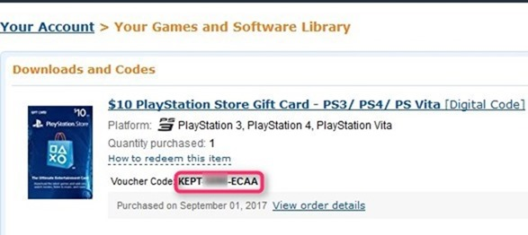 Amazon US Playstation store wallet code redeem