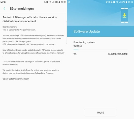 Android 7.0 Nougat update for Samsung Galaxy S7 Edge