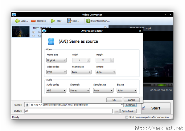 Apowersoft Screen Recorder - Video Converter settings