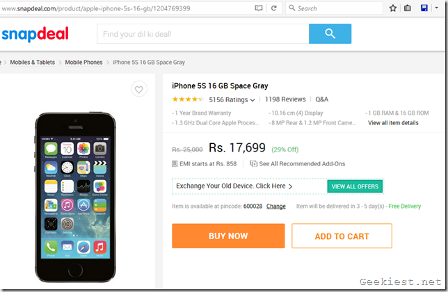 Apple iPhone 5s price drop Snapdeal