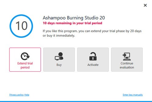 Ashampoo Burning Studio 20 Extend Trial