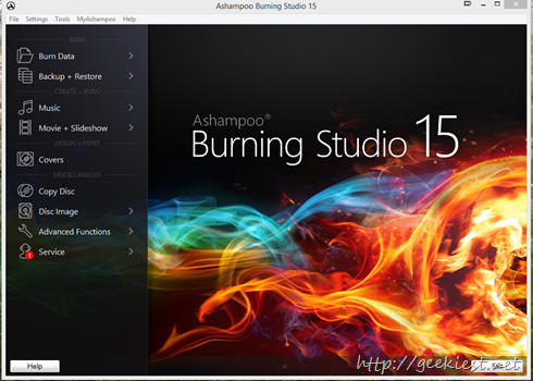 Ashampoo Burning studio 15 home screen