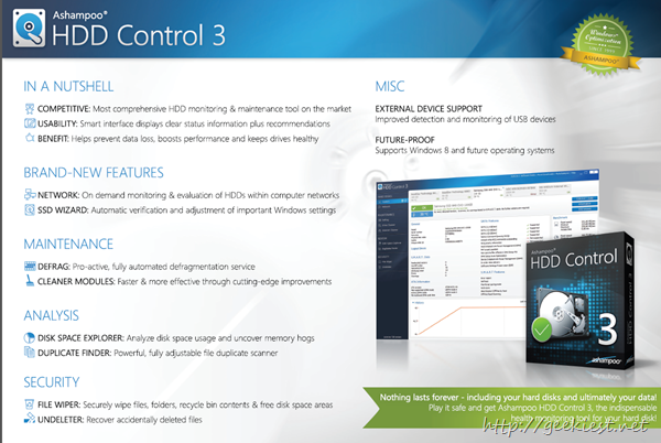 Ashampoo HDD Control 3 features in a nutshell