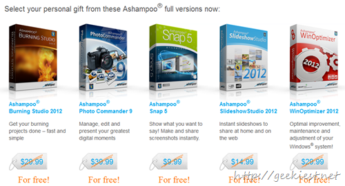 Ashampoo products worth USD 125 for Free