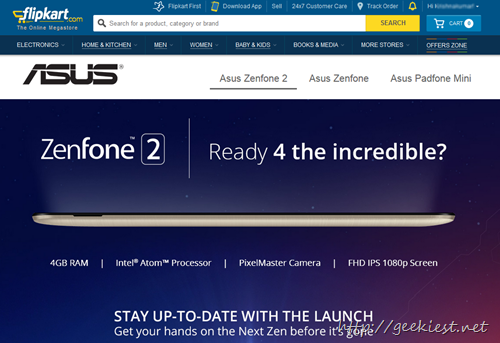 Asus Zenfone 2 on Flipkart