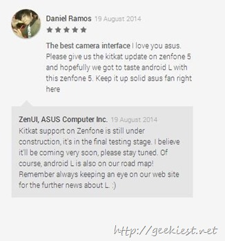Asus Zenfone Kitkat and Android L