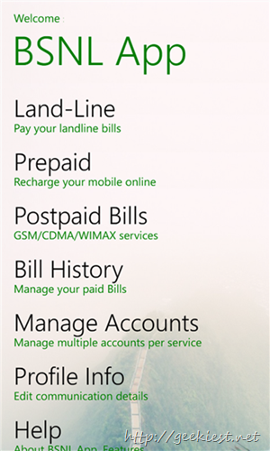 BSNL Windows phone app