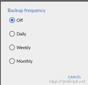 Backup frequency options