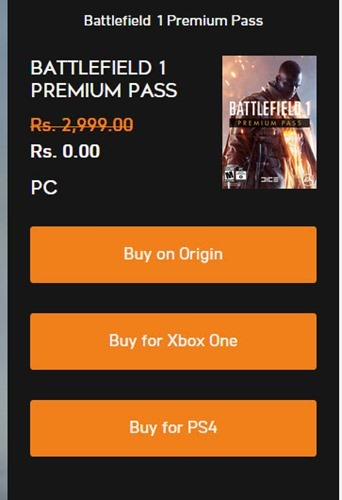 Battlefield 1 Premium Pass worth INR 2999 for FREE