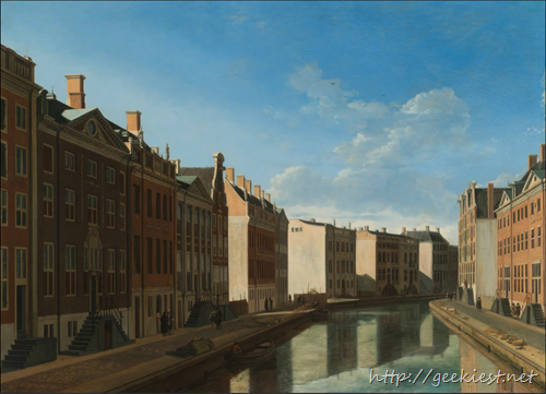 Bend in the Herengracht, seen from the Vijzelstraat (Gerrit Adriaensz. Berckheyde) - Rijksmuseum - Art Project, powered by Google