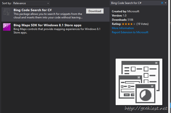 Bing Code Search for C# - Visual Studio extension