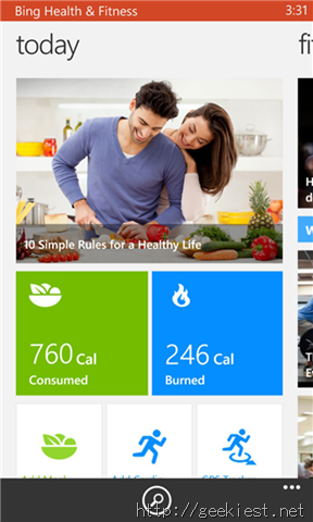 Bing Health and Fitness