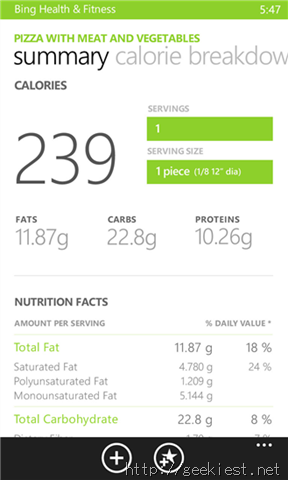 Bing Health and Fitness Diet