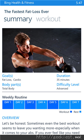 Bing Health and Fitness Workout