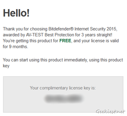Bitdefender Internet Security 2015 Giveaway Promo