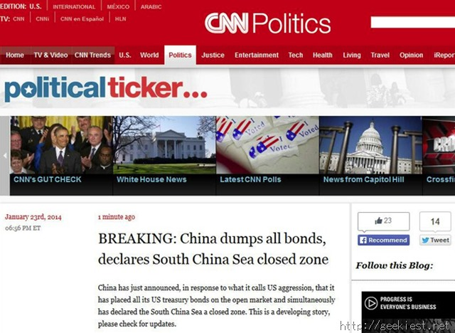 CNN Political Ticker Blog hacked and defaced by SEA