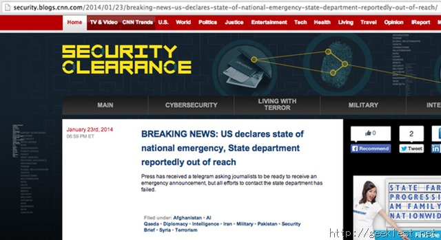 CNN Security Clearance Blog hacked and defaced by SEA