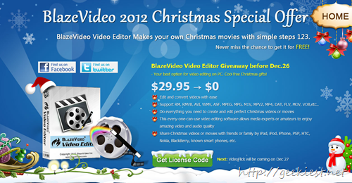 Christmas Giveaway - BlazeVideo Video Editor full version license
