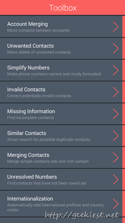Contacts Optimizer - toolbox