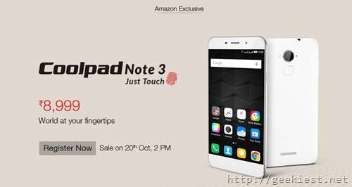 Coolpad Note 3 Registration Open